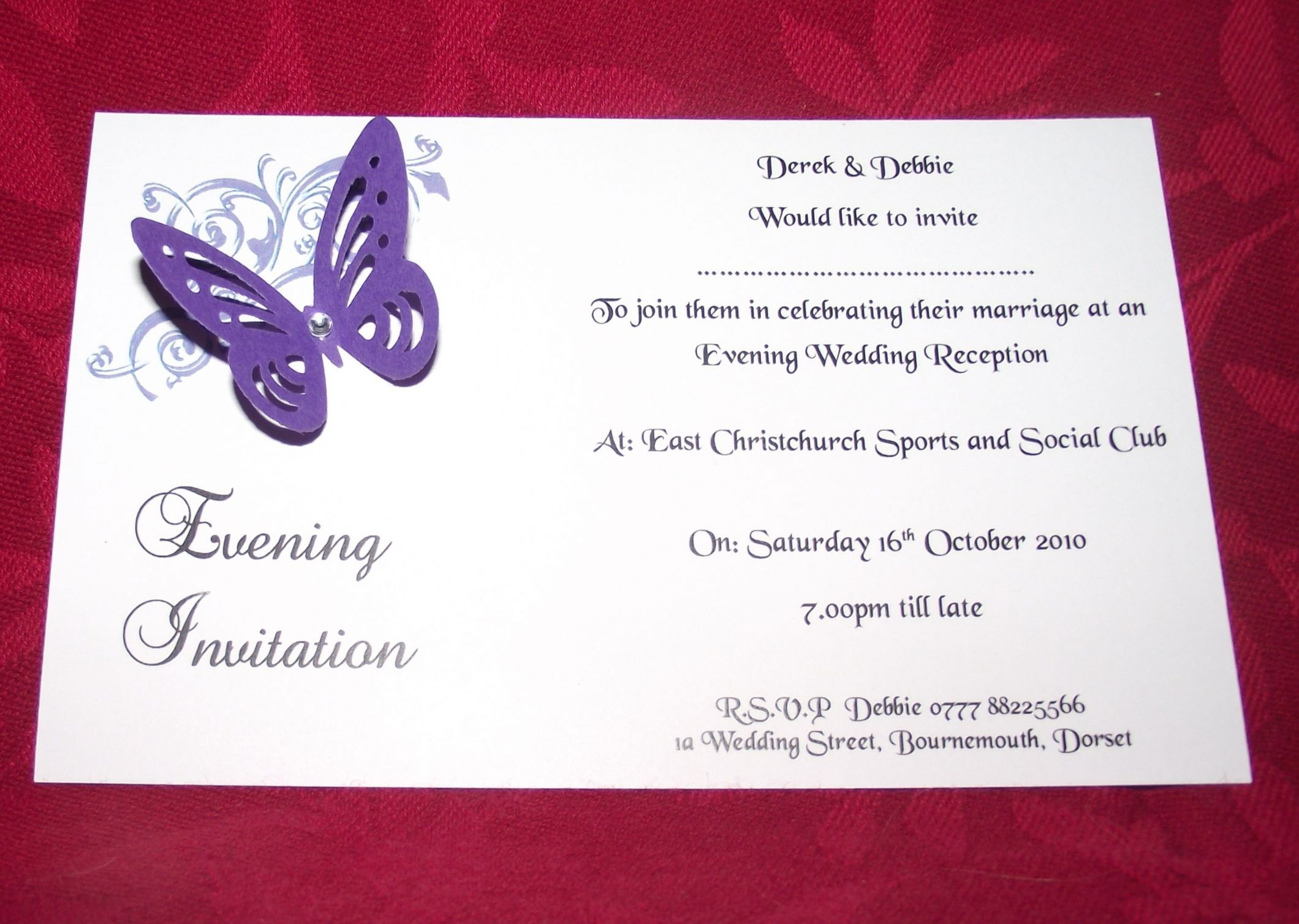 invitations Day or Evening Personalised Corner butterfly design ...